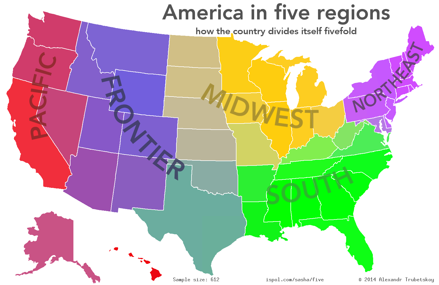 Map Of United States By Regions.America In Five Regions